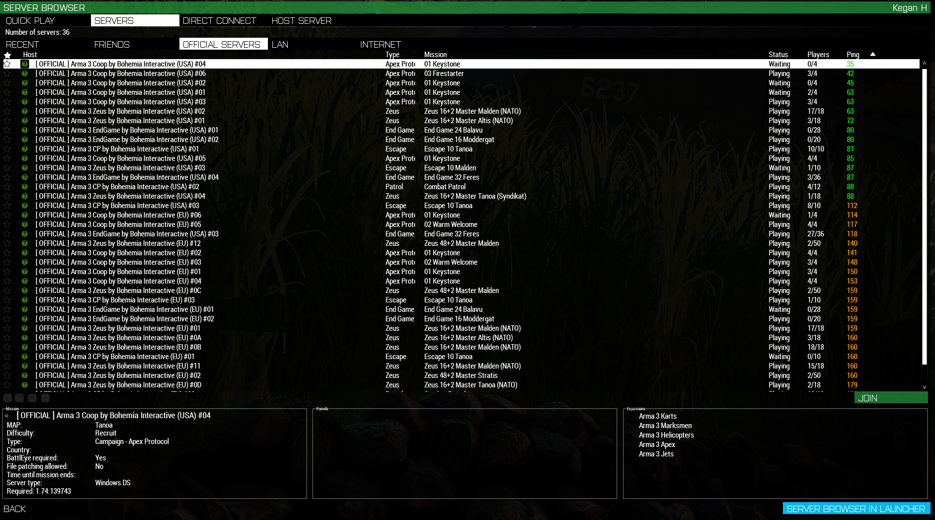 Picture of default arma server list.